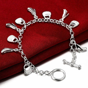 Jewelry - 925 Silver Plated Shoes & Bags Charms Bracelet NEW